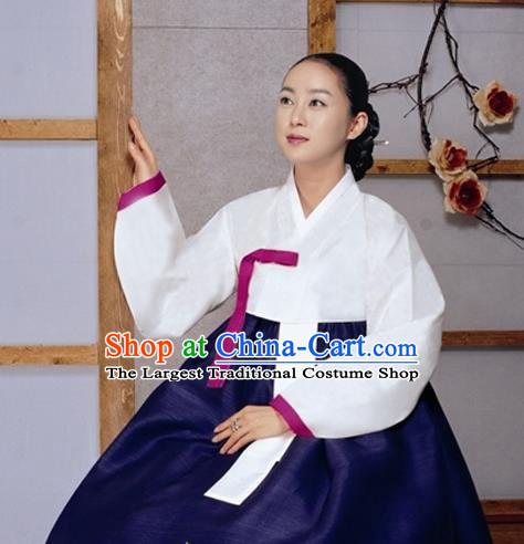 Korean Traditional Bride Mother Hanbok White Satin Blouse and Navy Dress Garment Asian Korea Fashion Costume for Women