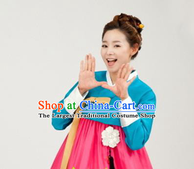 Korean Traditional Bride Mother Hanbok Blue Satin Blouse and Pink Dress Garment Asian Korea Fashion Costume for Women