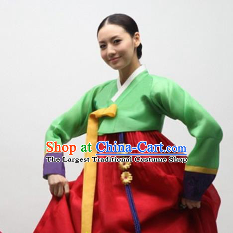 Korean Traditional Bride Mother Hanbok Green Satin Blouse and Red Dress Garment Asian Korea Fashion Costume for Women