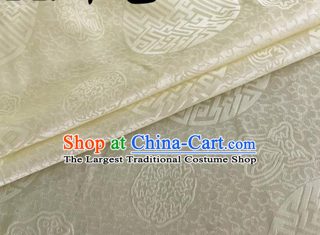 Asian Chinese Classical Longevity Pattern Design Beige Brocade Jacquard Fabric Traditional Cheongsam Silk Material