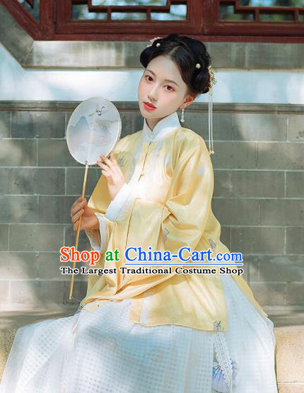 Chinese Traditional Hanfu Yellow Blouse Ancient Ming Dynasty Princess Costume for Women
