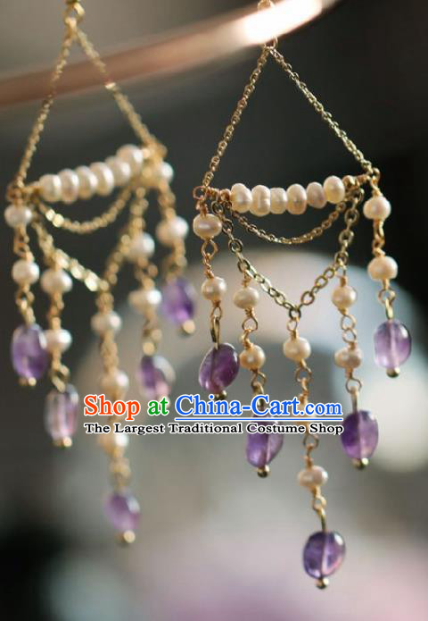 Chinese Traditional Hanfu Pearls Tassel Earrings Handmade Ear Jewelry Accessories for Women