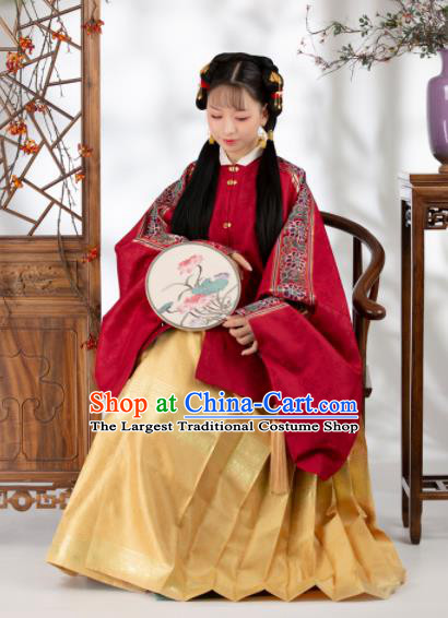 Traditional Chinese Ming Dynasty Nobility Lady Red Blouse Ancient Royal Infanta Historical Costume for Women