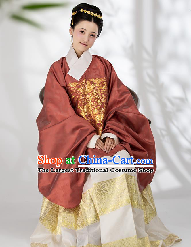 Traditional Chinese Ming Dynasty Contessa Blouse and Skirt Ancient Royal Infanta Historical Costumes for Women