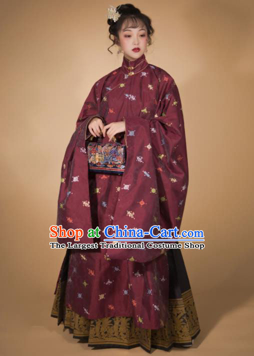 Traditional Chinese Ming Dynasty Patrician Lady Blue Blouse and Skirt Ancient Royal Infanta Historical Costumes for Women