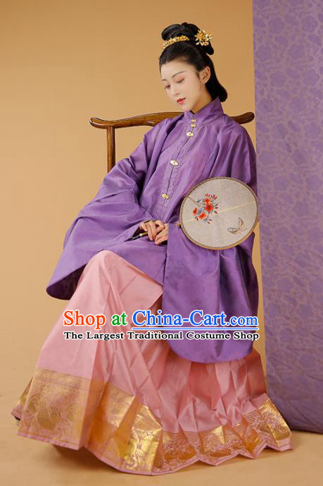 Traditional Chinese Court Mistress Purple Blouse and Skirt Ancient Ming Dynasty Patrician Dowager Historical Costumes for Women