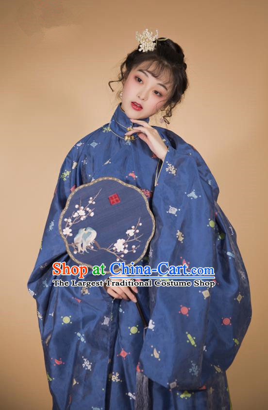 Traditional Chinese Ming Dynasty Patrician Lady Hanfu Navy Robe and Skirt Ancient Royal Infanta Historical Costumes for Women