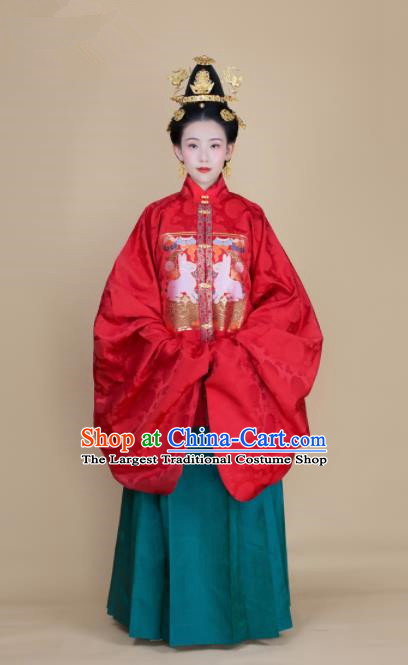 Traditional Chinese Ancient Bride Wedding Hanfu Dress Ming Dynasty Royal Infanta Historical Costumes for Women