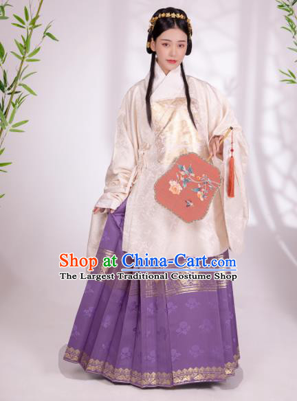 Traditional Chinese Ancient Patrician Female White Silk Blouse and Skirt Ming Dynasty Royal Infanta Historical Costumes for Women