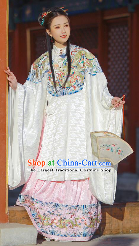 Chinese Ming Dynasty Patrician Lady White Blouse and Skirt Traditional Ancient Court Princess Costumes for Women