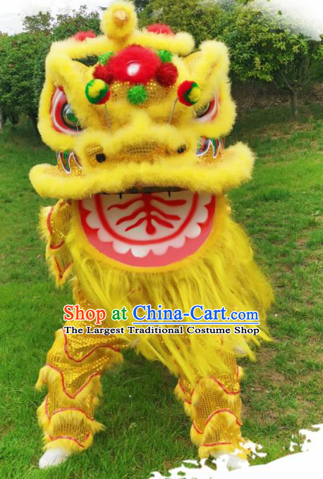 Chinese Traditional Lion Dance Competition Yellow Fur Lion Head Top Lion Dance Costumes for Adult