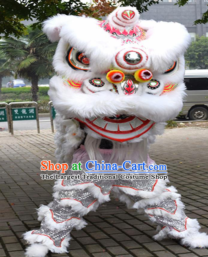 Chinese Traditional Lion Dance White Fur Lion Head Top Lion Dance Competition Costumes for Adult