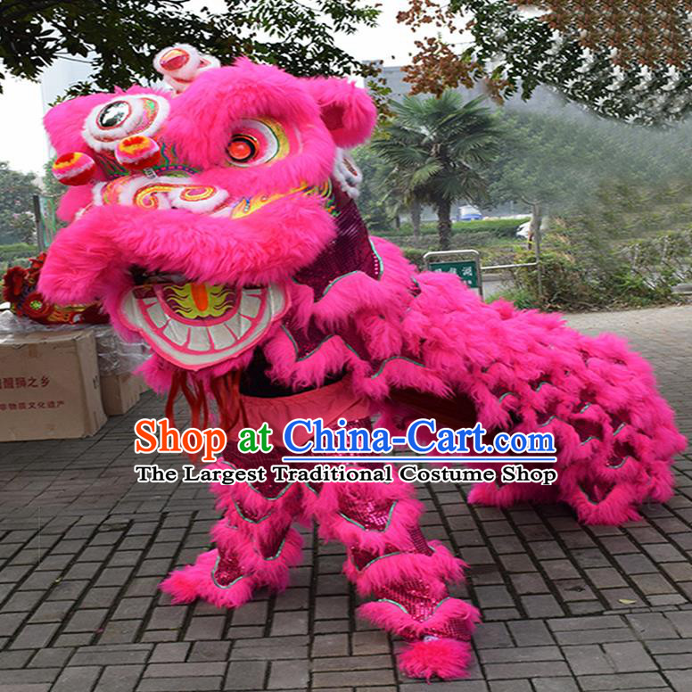 Chinese Traditional Lion Dance Rosy Fur Lion Head Top Lion Dance Competition Costumes for Adult
