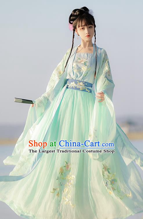 Traditional Chinese Tang Dynasty Patrician Lady Green Hanfu Dress Ancient Royal Princess Embroidered Costumes for Women