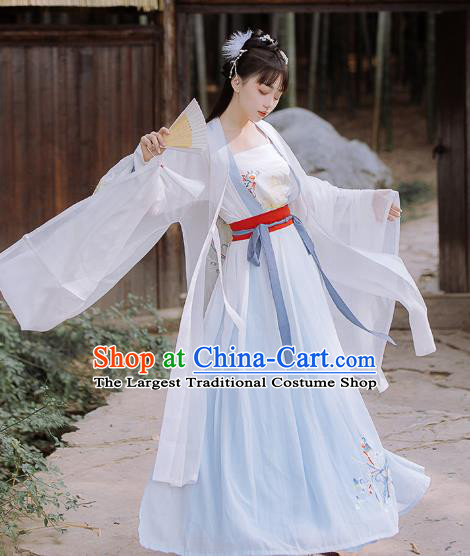 Traditional Chinese Song Dynasty Civilian Female Hanfu Dress Ancient Young Lady Embroidered Costumes for Women