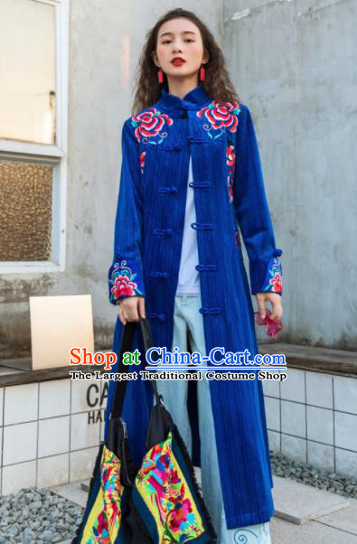 Chinese Traditional Embroidered Royalblue Dust Coat National Overcoat Costumes for Women