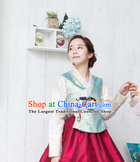 Korean Traditional Bride Hanbok Blue Satin Blouse and Wine Red Dress Garment Asian Korea Fashion Costume for Women