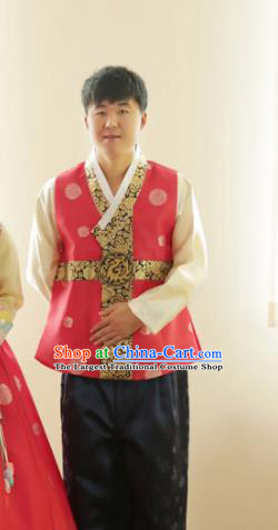 Korean Traditional Pink Vest and Black Pants Hanbok Asian Korea Bridegroom Fashion Costume for Men