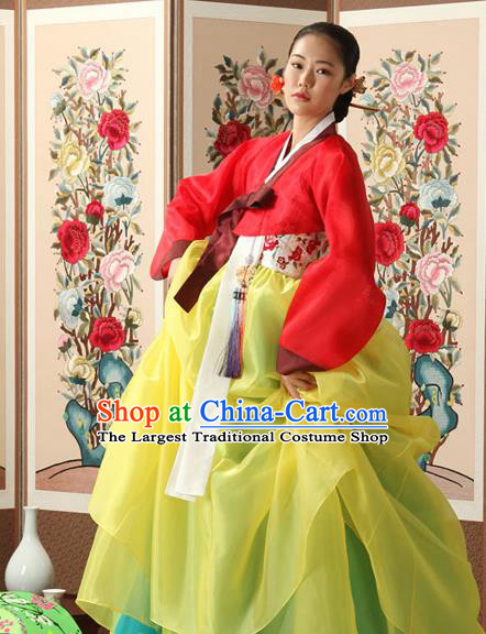 Korean Traditional Court Queen Hanbok Red Blouse and Yellow Dress Garment Asian Korea Fashion Costume for Women
