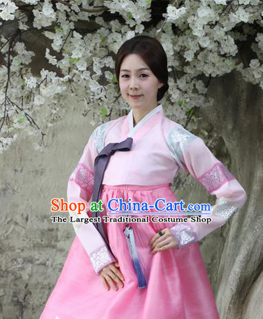 Korean Traditional Dance Hanbok Pink Blouse and Dress Garment Asian Korea Fashion Costume for Women