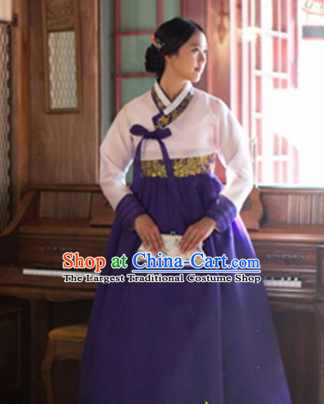 Korean Traditional Court Hanbok White Blouse and Purple Dress Garment Asian Korea Fashion Costume for Women