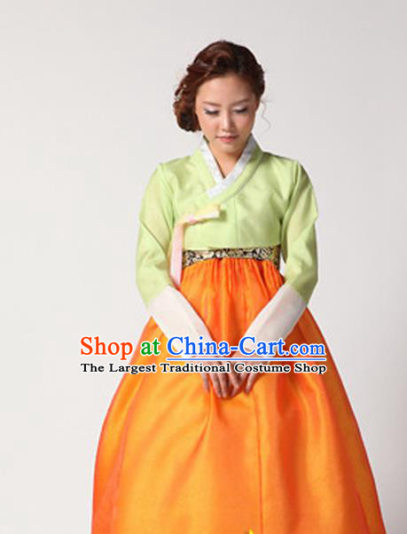 Korean Traditional Court Hanbok Green Satin Blouse and Orange Dress Garment Asian Korea Fashion Costume for Women