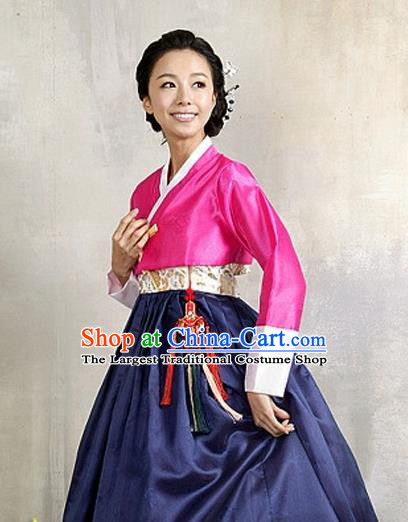 Korean Traditional Court Hanbok Rosy Satin Blouse and Navy Dress Garment Asian Korea Fashion Costume for Women