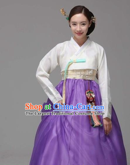 Korean Traditional Court Hanbok White Satin Blouse and Purple Dress Garment Asian Korea Fashion Costume for Women