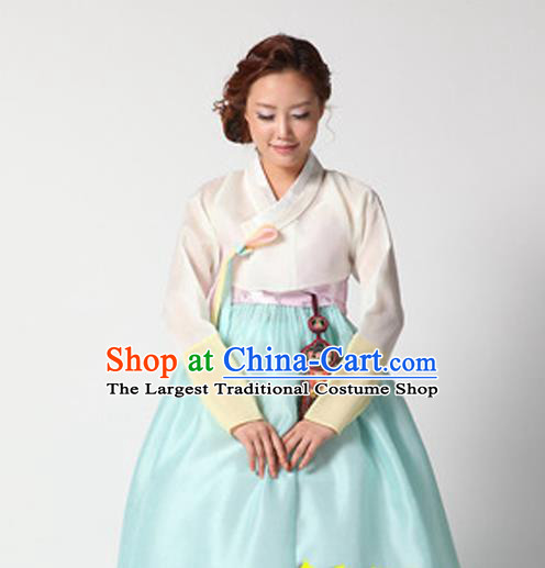 Korean Traditional Court Hanbok White Satin Blouse and Blue Dress Garment Asian Korea Fashion Costume for Women