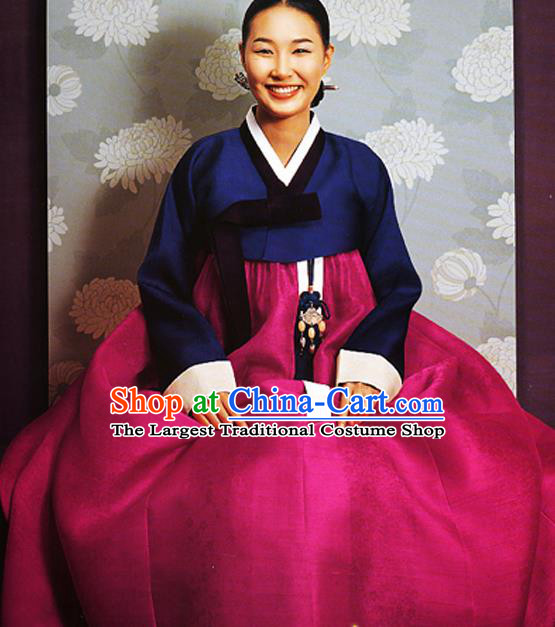 Korean Traditional Court Hanbok Navy Satin Blouse and Rosy Dress Garment Asian Korea Fashion Costume for Women
