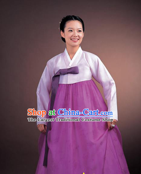 Korean Traditional Court Hanbok Lilac Satin Blouse and Purple Dress Garment Asian Korea Fashion Costume for Women