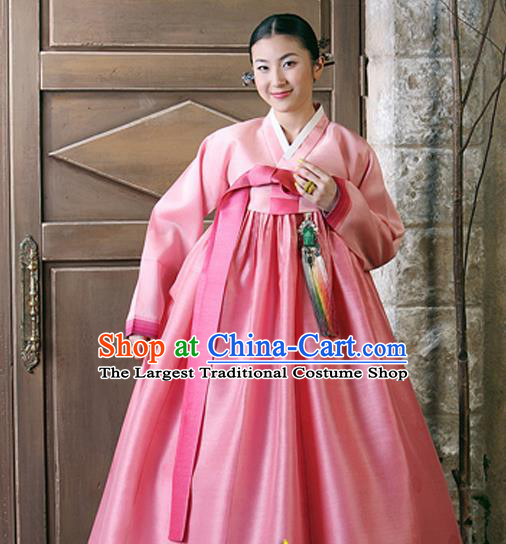 Korean Traditional Court Hanbok Pink Satin Blouse and Dress Garment Asian Korea Fashion Costume for Women