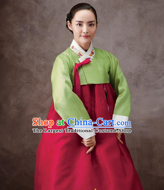 Korean Traditional Court Hanbok Green Satin Blouse and Wine Red Dress Garment Asian Korea Fashion Costume for Women