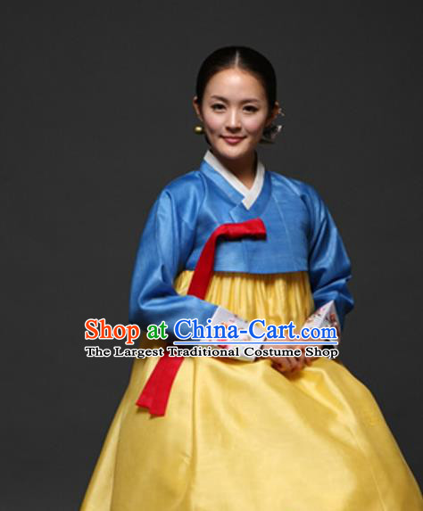Korean Traditional Court Hanbok Blue Satin Blouse and Yellow Dress Garment Asian Korea Fashion Costume for Women