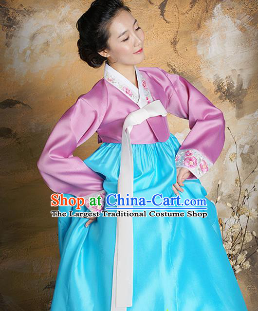 Korean Traditional Court Hanbok Pink Satin Blouse and Blue Dress Garment Asian Korea Fashion Costume for Women