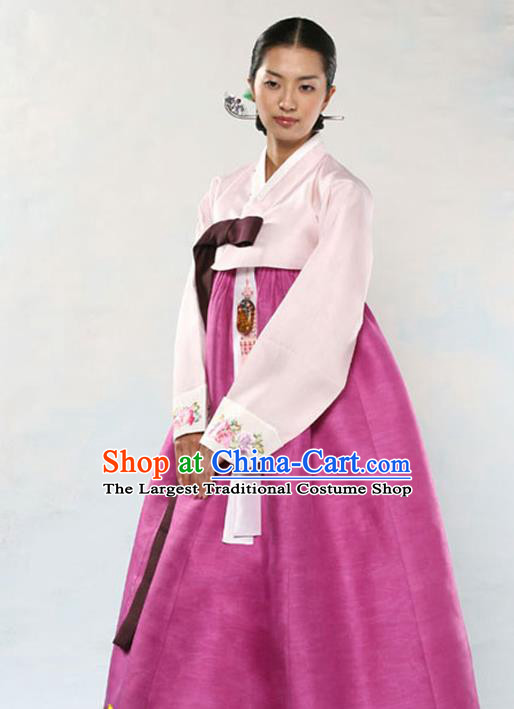 Korean Traditional Court Hanbok Pink Satin Blouse and Rosy Dress Garment Asian Korea Fashion Costume for Women