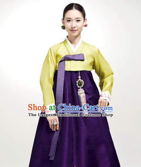 Korean Traditional Court Hanbok Green Satin Blouse and Purple Dress Garment Asian Korea Fashion Costume for Women