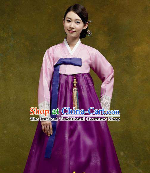 Korean Traditional Court Hanbok Pink Satin Blouse and Purple Dress Garment Asian Korea Fashion Costume for Women