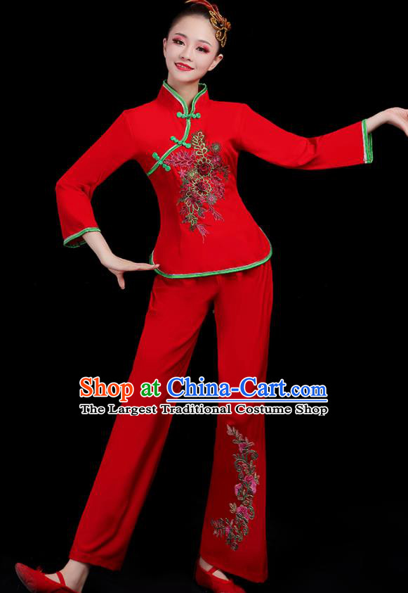 Chinese Traditional Yangko Dance Fan Dance Red Outfits Folk Dance Stage Performance Costume for Women