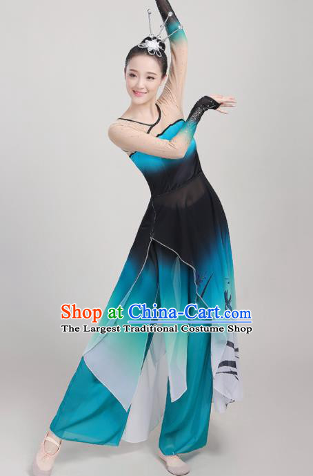 Chinese Traditional Yangko Dance Fan Dance Blue Outfits Folk Dance Stage Performance Costume for Women