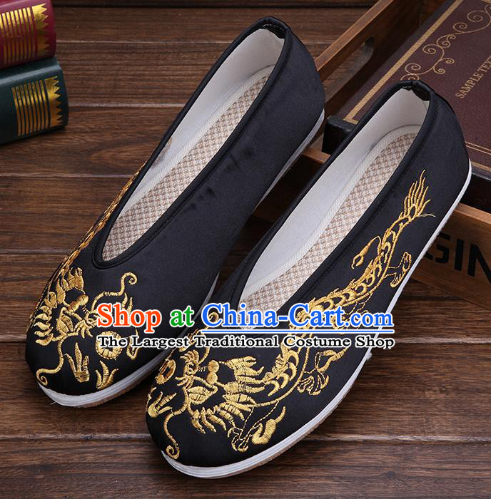 Chinese Traditional Black Embroidered Dragon Shoes Handmade Hanfu Shoes Wedding Shoes for Men