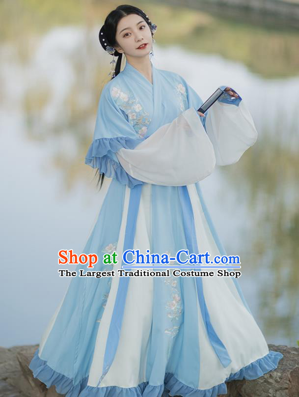 Traditional Chinese Jin Dynasty Royal Infanta Blue Hanfu Dress Ancient Nobility Lady Historical Costumes for Women