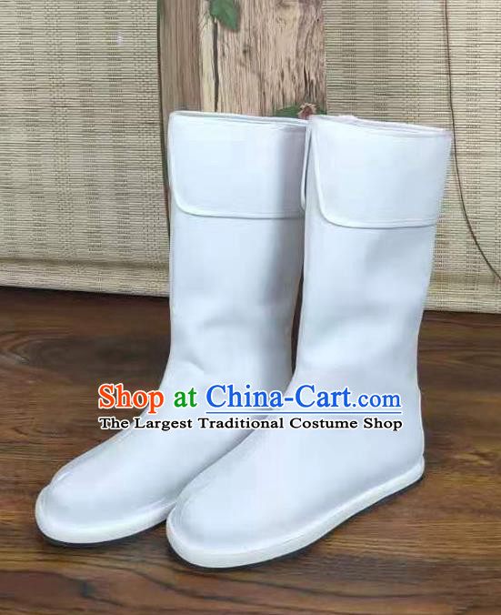 Traditional Chinese Swordsman White Boots Kung Fu Boots Opera Shoes Hanfu Shoes for Men