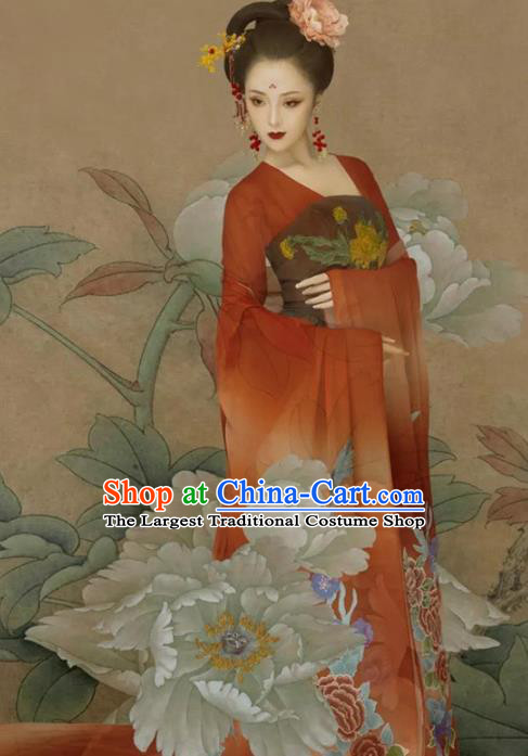 Traditional Chinese Tang Dynasty Imperial Consort Red Hanfu Dress Ancient Court Lady Replica Costumes for Women
