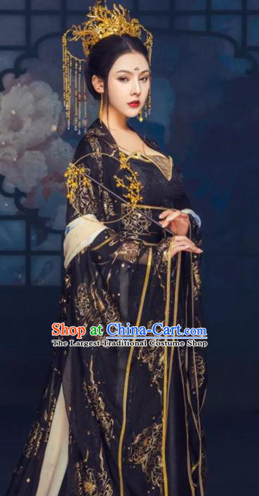 Traditional Chinese Court Black Hanfu Dress Ancient Tang Dynasty Imperial Consort Replica Costumes for Women