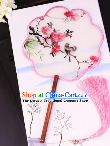 Chinese Traditional Su Embroidered Peach Flowers Palace Fans Handmade Rosewood Silk Fan for Women