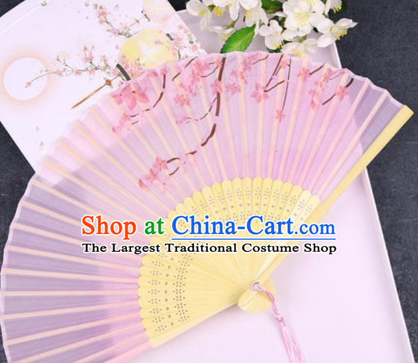 Chinese Traditional Classical Dance Printing Pink Silk Folding Fans Handmade Accordion Bamboo Fan