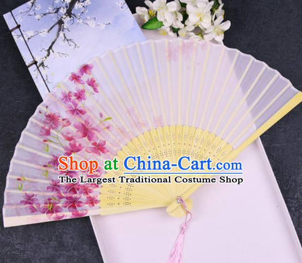 Chinese Traditional Classical Dance Printing Flowers Pink Silk Folding Fans Handmade Accordion Bamboo Fan