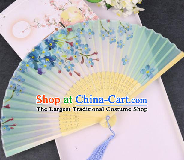Chinese Traditional Classical Dance Printing Flowers Green Silk Folding Fans Handmade Accordion Bamboo Fan
