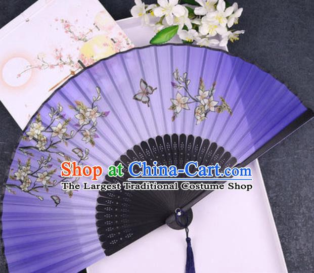 Chinese Traditional Classical Dance Printing Flowers Purple Silk Folding Fans Handmade Accordion Bamboo Fan